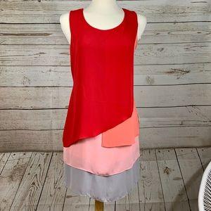 BCBG MaxAzria sheath color block soft flowy dress